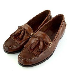 Cole Hann Brown Slip On Tassel Loafer Shoes